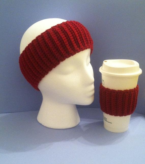 BOGO ear warmer/cozy, ear warmer/cozy set, burgundy ear warmer, burgundy coffee cozy, headband set, coffee cozy set
