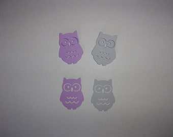 Owl Die Cuts, Large Table Confetti - Light Purple, Grey Cardstock Paper Baby Shower Birthday Party Decoration Shape Card Making Supply