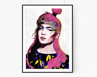 Grimes | llustration art giclée print | music print ,print, Wall decor, signed art, wall art, portrait, poster, high quality A4|A3|A2 |