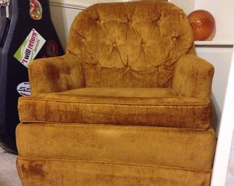 Vintage 70s Tufted Golden Orange Velvet Lounge Chair
