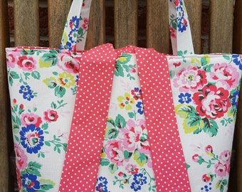 Floral/rose fabric tied tote bag, fully lined in matching cotton fabric - can also be custom made