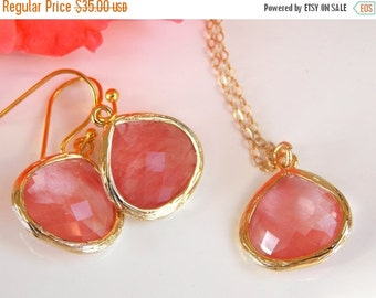 SALE Wedding Jewelry Set, Coral Earrings and Necklace, Gold Filled, Grapefruit, Peach,Bridesmaid Gifts, Bridesmaid Jewelry, Pendant, Dangle,