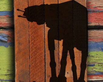 AT-AT painting on reclaimed wood