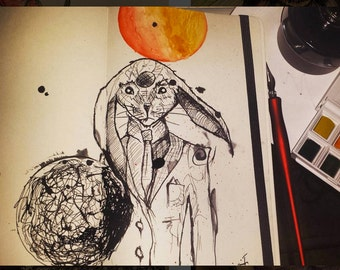 Mr. Rabbit ink and watercolor