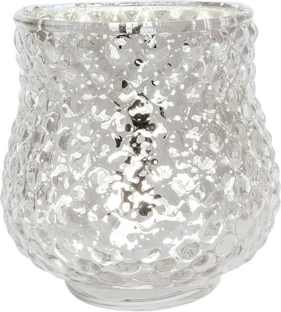 Silver mercury glass vase diamond design candle by taarabazaar