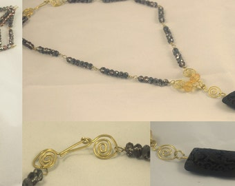 "Necklace ""the Dragon and the golden thread"""