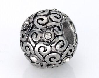 Stainless Steel European Spacer Beads Swirl Charm Fits European Charm Bracelets