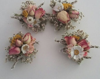 One Floral Hair Clip or Brooch. Made from Dried Flowers. YOUR CHOICE of COLOUR Wedding Hair, Bride, Flower Accessory Grip, Pins, Bespoke