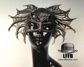 Night Things: The Gilded Bat -  Cut Leather Mask - Mardi Gras, Cosplay, Ball Mask, Venetian Mask, Masquerade Festival Wear Costume Halloween