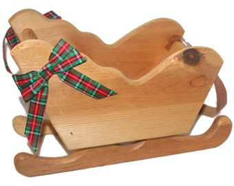 Large Vintage Christmas Sleigh, Holiday Home Decor