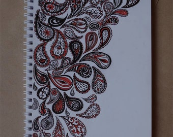 Handmade notebook with paisley pattern