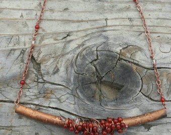 Citrine, carnelian and crystal wrap necklace