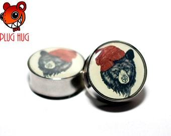 Hipster Bear Plugs (Buy 2 Pairs Get 1 Free!)