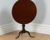 Antique Georgian English Red Walnut Full Size Tilt Top Tripod Occasional Tea Supper Pedestal Circular Table (Circa 1780)