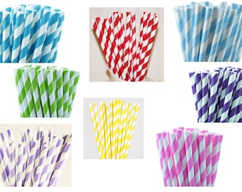 Striped Paper Straws. Pack of 20 or 25.
