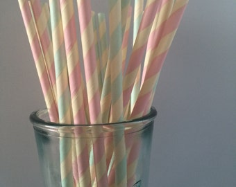 Pale pink & blue striped paper straws. Pack of 25.