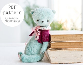 OOAK Artists Teddy Bear pattern, teddy pattern, teddy bear, soft toy pattern, plush bear, 7.5 inches