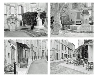 SALE, Provence Photography, Black and White Prints, France Photography, Travel Photography, Village, Cafe, French Decor, Set of 4 prints