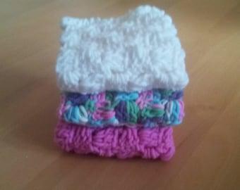 Crochet wash cloth, cotton dish cloth , housewarming gift, Crochet potholder, set of 3 dishcloth, ready to ship