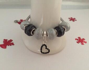 Bracelet charm's grey and black with Heart Rhinestone ref 674