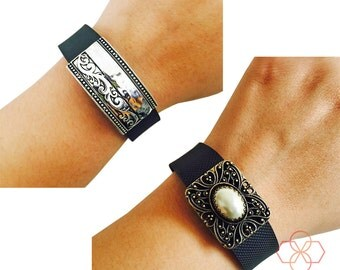 Bundle Pack! - The ROYAL ELEGANCE Antique Gold and Pearl Charm & Elegant Silver charm to Dress Up Your Favorite Fitness Tracker - Ships FREE