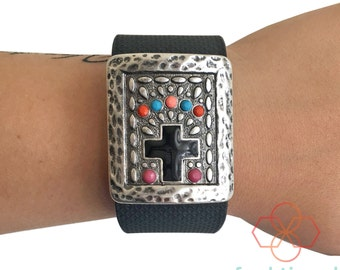 Charm to Accessorize the Fitbit Surge Activity Tracker - The GRACE Silver Cross Charm to Dress Up Your Favorite Fitness Tracker - Ships FREE