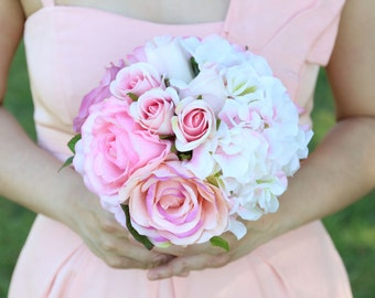 Silk and Real Touch Pink Rose and Cream Hydrangea Bridesmaids Wedding Bouquet and Boutonniere set