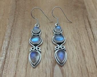 Rainbow Moonstone Silver Earrings // 925 Sterling Silver // Bali Design // Moonstone Earrings