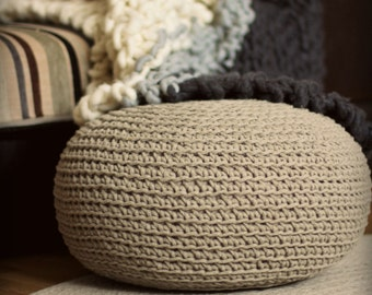 Organic, crochet pouf, Linen pouf, knit pouf, floor cushion, hypoalergic pouf, poof, bean bag chair, Ottoman, footstool, rustic pouf