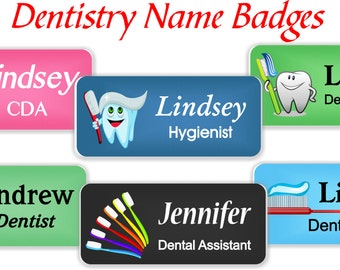 Name Badges with Magnetic Fastener, Dentristry Themed Name Tags, Dental Office Magnetic Name Tags, Magnetic Dental Name Badges - DENT1b