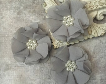 Grey flower, chiffon flower, pearl flower, fabric flower, headband flower, supply flower, ballerina flower