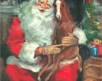 """Christmas Cards of Foal on Santa's Lap - """"Christmas Wishes"""" Pack of 12"""