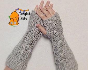 Crochet Pattern, Crochet Arm Warmer Pattern, Fingerless Gloves Pattern, Crochet Cable Stitch, Cable Stitch Arm warmer, Cable Stich Glove