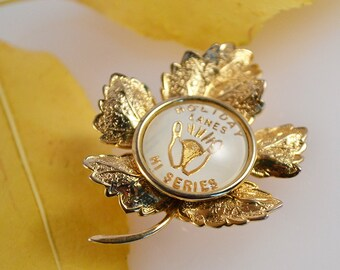 Vintage Maple Leaf Hi Series Bowling Pin Brooch from Holiday Lanes