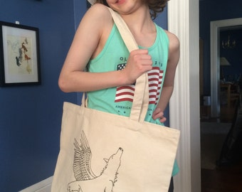 spirit wolf -  canvas tote bag - hand signed by artist emily burke