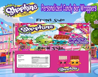 Shopkins Birthday Personalized Candy Bar Wrappers (Printable)