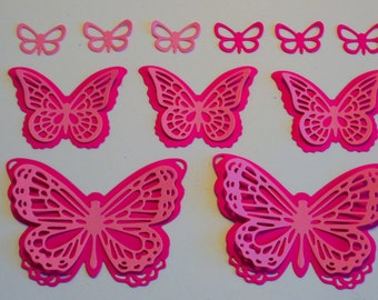Butterfly die cuts, Pink butterflies, Fushia butterflies, Pink die cuts, Die cut shapes, Embellishments, Card making supplies, Card die cuts
