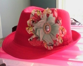 Child's/Toddlers Pink Fedora Hat
