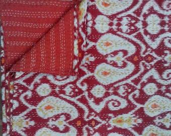 Ikkat Print Handmade Kantha Cotton Quilt / Throw/ Blanket/ Bedspread from India boho/ hippie/ chic