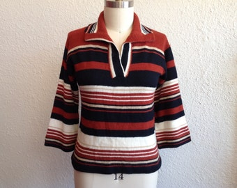 1970s Brown striped pullover sweater