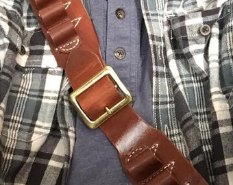 Leather Bandolier, Buckle and Sash Style, for SHOTGUNS in NATURAL oil treated, Black, Dark Brown and Russet All Top Grain Leather.