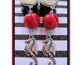 "Seahorse in the Sky pretty EAR PLUGS dangle earrings pick gauges - 2, 0g, 00g, 7/16, 1/2"", 9/16, 5/8"", 11/16"" aka 6, 8, 10, 12, 14, 16, 18mm"