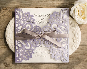 30 Romantic Lavender Laser Cut Wedding Invitation Set: Invitation, RSVP, Direction or Accommodation, Thank You Card