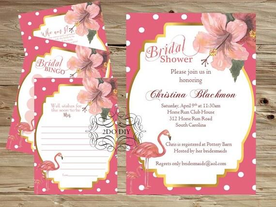 Flamingo Bridal Shower Invitation Kit / Invitation And By