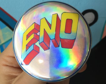 """BRIAN ENO Here Come The Warm Jets Roxy Music producer ambient electronic experimental noise Long Now Foundation  2.25"""" holographic button"""