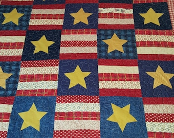 """Quilt (Patchwork) Traditional American Patriotic Twin Blanket / Picnic /Lap Throw – 4th.July Gift - 100% cotton  - 60"""" x 80"""""""