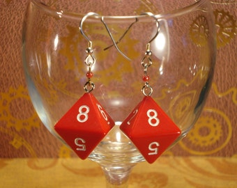 Red D8 Earrings.