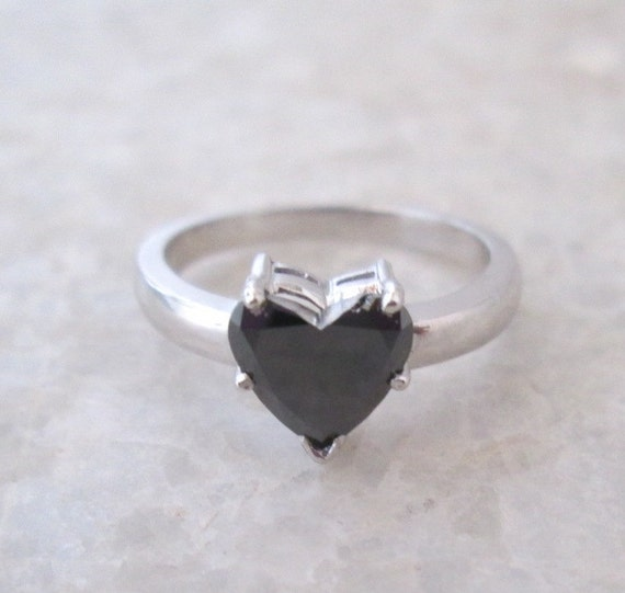 heart black diamond ring black heart diamond ring 14k solid. Black Bedroom Furniture Sets. Home Design Ideas