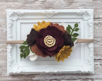 Fall Headband, Fall Flower Crown Headband, Thanksgiving Headband, Autumn Headband, Fall Flower Headband Fall Baby Headband, Harvest Headband