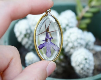 Lobelia pressed flower necklace